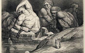 Ефіальт (зліва, звернений до мандрівникам) разом з титанами і гігантами, на ілюстрації Гюстава Доре до «Божественної комедії» Данте