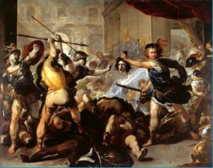 Кинувся в бій Персей. Як блискавка, блищить у нього в руках смертоносний меч, яким він убив Медузу. Одного за одним разить він на смерть героїв, які прийшли з Фінеєм.