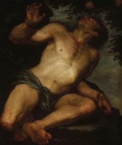 Зморений голодом, Тантал простягає руки за чудовими плодами, але налітає порив бурхливого вітру і відносить плодоносні віти.