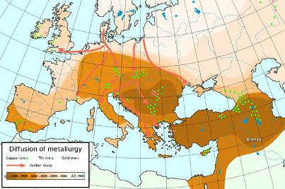 Поширення металургії в Старому світі до середини 2 тисячоліття.