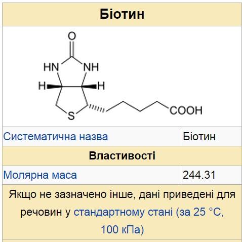 Біотин (вітамін H або B7, біос-ІІ, коензим R) С10Н16О3N2S — водорозчинний вітамін групи В.
