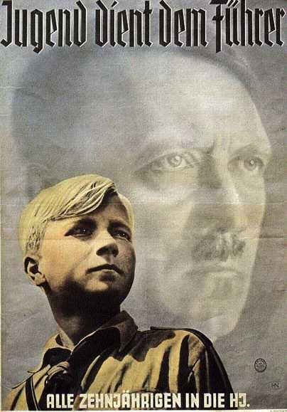 Плакат, який пропагує вступ до гітлерюгенд (Знизу напис «Все десятирічні - в Гітлерюгенд», зверху - «Молодь служить фюреру»)