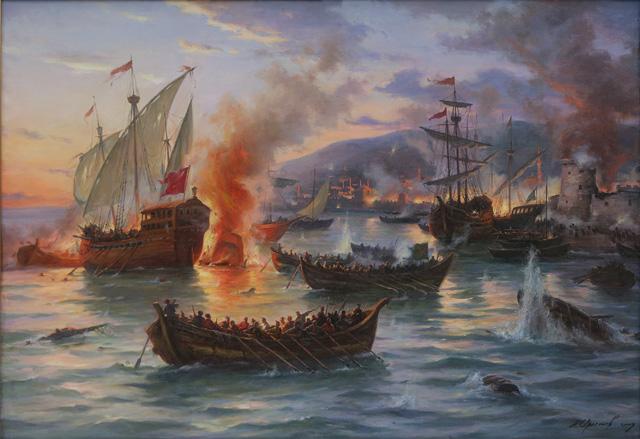 Козаки гетьмана Петра Сагайдачного здобувають Кафу.