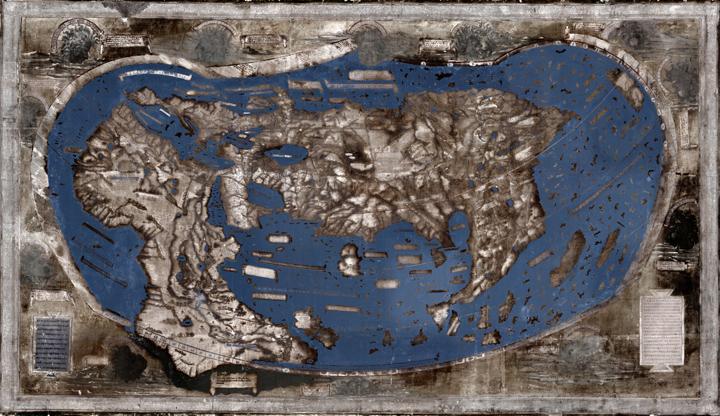Оригінальне зображення карти і його дослідницька реконструкція.