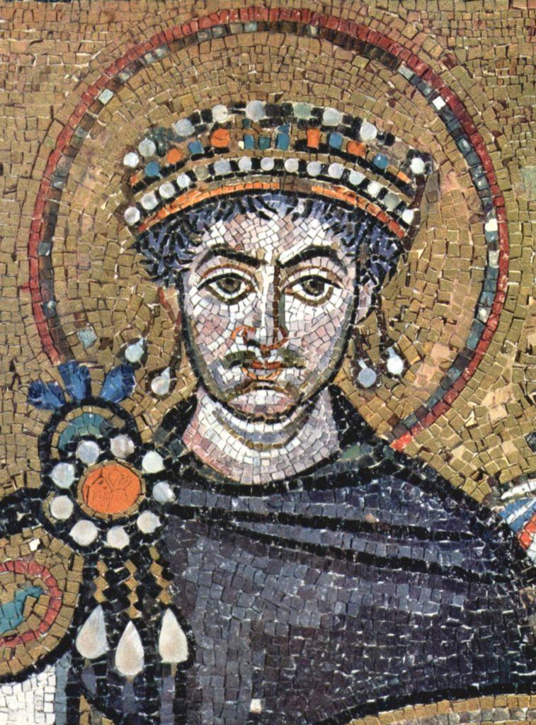 Юстиніан I. Сучасна мозаїка в церкві Сан-Вітале